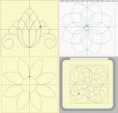 """4 Stickdateien """"Blütenblatt-Blume"""", """"Ananas"""", """"Sonnenblume"""", """"Federn"""" für Quilt und AcuFil-Tool von facileetbeaugusta auf Etsy"""