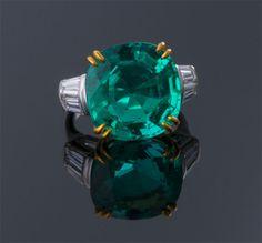 Cushion Cut Emerald and Diamond Ring  Plat & 18K (22 x 15mm)  E=11.61cts + D=1.00cts app  $360,000