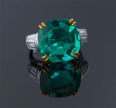 Cushion Cut Emerald and Diamond Ring  Plat & 18K (22 x 15mm)  E=11.61cts + D=1.00cts app  $360,000