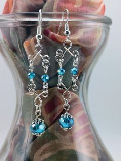Faceted Blue Crystal Chandelier Earrings by KoningStilsonDesign on Etsy Chandelier Earrings, Crystal Earrings, Drop Earrings, Faceted Crystal, Blue Crystals, Turquoise Necklace, Etsy Shop, Trending Outfits, Unique Jewelry