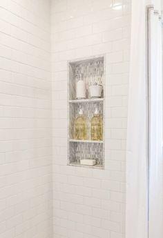 Marble Bathroom Custom Marble/Mosaic Shower Niche in Walk-In Shower - Traditional - Bathroom - Houst Built In Shower Shelf, Tile Shower Shelf, Gray Shower Tile, Bathroom Shower Heads, Bathroom Niche, Small Bathroom With Shower, Small Showers, Walk In Shower, Master Bathroom
