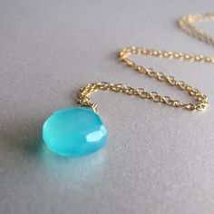 Gold Sea Blue Chalcedony Necklace