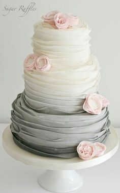 2019 Most Popular Wedding Cakes You Will Love--elegant gray ombre wedding cakes with ruffle, spring weddings, floral wedding cake toppers Elegant Wedding Cakes, Beautiful Wedding Cakes, Wedding Cake Designs, Beautiful Cakes, Amazing Cakes, Cake Wedding, Pink And Grey Wedding Cake, Floral Wedding, Perfect Wedding