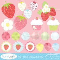 summer strawberries clipart commercial use - PGCLPK505
