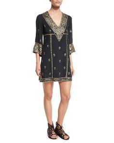 Ray Embroidered Mini Dress, Black - Alice + Olivia