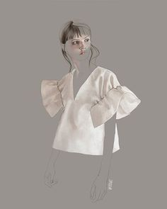 Fashion illustration of Pre SS16 look by @victoriabeckham. Love this sleeve top…