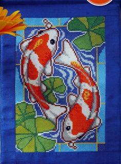 Tableau poisson en point de croix
