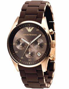 NEW Emporio Armani Women Luxury Watch AR5891 Brown Chronograph Stainless Steel #EmporioArmani #Casual