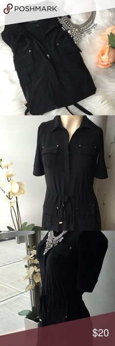 Black dress Black dress size knee size. Material 95% polyester 5% spandex. Very cute dress. Used once. White House Black Market Dresses Maxi
