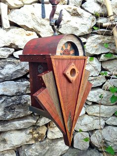 The Sunrise: Art Deco Birdhouse Handmade of Reclaimed Wood and Metal by Roundhouse Works—$245