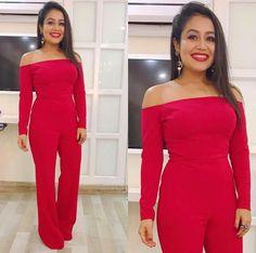 Her killer look with redddd 💃🏻👄 Big Girl Fashion, Little Fashion, Bollywood Actors, Bollywood Fashion, Neha Kakkar Dresses, Saree Navel, Eid Dresses, Famous Singers, Girls Dpz