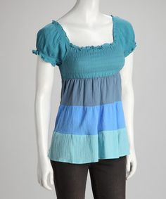 Take a look at this Green & Blue Stripe Dress by Jazzy Martini on #zulily today!