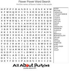 Printable Word Search Puzzles : Flower Power Word Search
