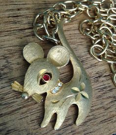 Mamselle Mouse Etched Necklace Pendant with Long Chain HTF! #Mamselle #Pendant
