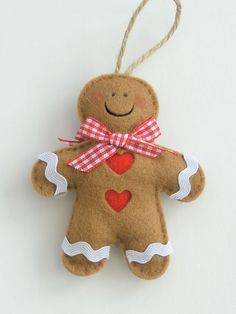 Handmade felt Gingerbread man Christmas decoration