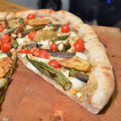 #PizzaTuesday Smoky Sweet Corn & Okra #Pizza: Smoky corn puree, buffalo mozzarella, oven-roasted okra, grilled fingerling potatoes, cherry tomatoes, grated Parmesan