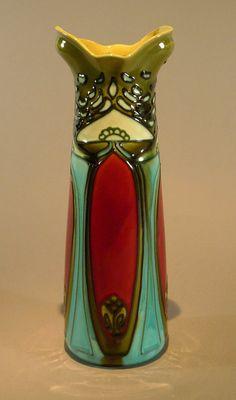 Minton Secessionist Majolica Vase Gorgeous Art Nouveau - EXQUISITE!