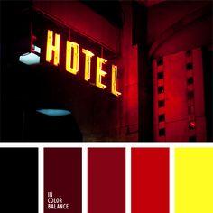 amarillo vivo, amarillo y rojo, burdeos, color carmesí ladrillo, color de las luces, color rojo vino, elección del color, escarlata, frambuesa, rojo fuerte, rojo negruzco, rojo oscuro, rojo sangre, tonos rojos.