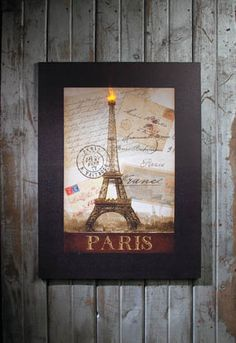 Radiance Lighted Canvas Large Paris Eiffel Tower  Eifflel Tower on postcard background. Light at the top of the tower lights up and flickers  shelley b home and holiday