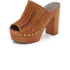 Sigerson Morrison Queen Open Toe Clogs ($395) ❤ liked on Polyvore featuring shoes, clogs, terra, peep toe clogs, studded shoes, wooden heel clogs, leather platform shoes and chunky platform shoes