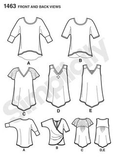 453 best sewing images dress patterns diy clothing dressmaking Love Boys Girl Pinafore simplicity 1463 back views showing back yoke position and hemline for view c raglan sleeves kwik