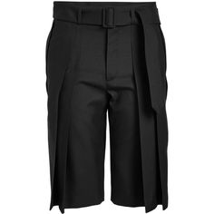 Saint Laurent Virgin Wool Shorts ($1,710) ❤ liked on Polyvore featuring men's fashion, men's clothing, men's shorts, black, mens pleated shorts and mens tailored shorts