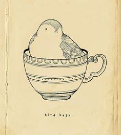 Cutest for a tea cup tattoo  ~Bird bath by Little Doodles~