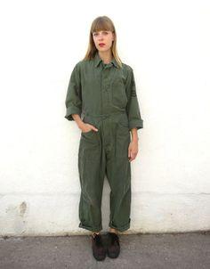Jumpsuit Cotton Military 60s sz. M by fairseason on Etsy, $118.00