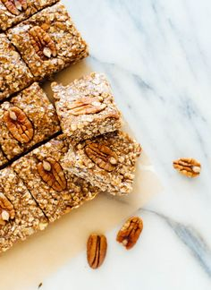 These homemade pecan granola bars are a delicious snack or breakfast! They taste one million times better than store-bought bars. Gluten free and vegan.