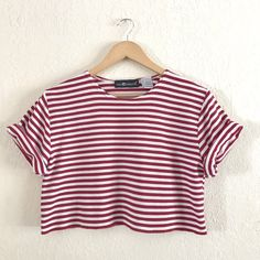 96ba06530b Fantastic red   white striped polyester top with cropped raw - Depop Red  And White Stripes