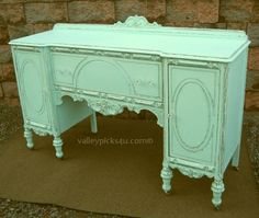 Shabby French Aqua Chic Holiday Buffet Server Cupboard TV Stand - love this color and distress Distressed Furniture, Shabby Chic Furniture, Painted Furniture, Refinished Furniture, Vintage Furniture, Furniture Ideas, Shabby Chic Tv Stand, Diy Furniture Making, Shabby Chic Antiques