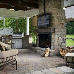 Outdoor 'man cave' with outdoor ktichen / grill and tv mounted over the outdoor fireplace Outdoor Living Space, Outdoor Rooms, Outdoor Decor, Outdoor Space, Outdoor Fireplace, Home, Outdoor Kitchen, Outdoor Spaces, Dream Backyard