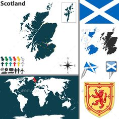 Buy Map of Scotland by on GraphicRiver. Vector map of Scotland with coat of arms and location on world map. Package contains: EPS version), JPG