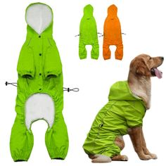 PET BONITO: Dog Hooded Raincoat for Medium to Large Dogs ~ Reflective Dog Waterproof Jacket ~ Golden Retriever Labrador  #petbonito #loveyourpet