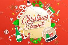 nice Big Set of Christmas Elements CreativeWork247 - Fonts, Graphics, Theme...