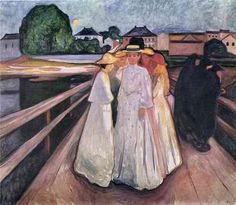 Edvard Munch [Norwegian Symbolist/Expressionist Painter, The Ladies on the Bridge Same bridge as The Scream, no? Edvard Munch, Oil Painting Pictures, Amedeo Modigliani, Manet, Oeuvre D'art, Art History, Modern Art, Dali, Illustration Art