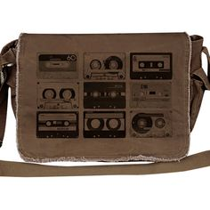 Crawlspace Studios Cassette Tapes Messenger Bag ($45) ❤ liked on Polyvore featuring bags, messenger bags, evening bags, brown bag, flap bag, laptop bag and holiday bags