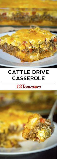Cattle  Drive Casserole Hamburger Casserole, Hamburger Recipes, Ground Beef Casserole, Casseroles With Ground Beef, Ground Beef Recipes, Cowboy Casserole, Meatball Casserole, Casserole Dishes, Casserole Recipes