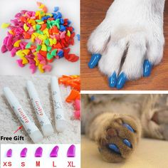 2016 New 20Pcs/Lot Colorful Soft Pet Dog Cats Kitten Paw Claws Control Nail Caps Cover Size XS/S/M/L/XL Get Free Glue
