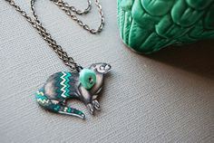 River Otter Necklace / Chevron Animal / Chevron Necklace / Striped  / Turquoise  /  Shrink Plastic Jewelry