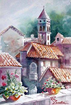 Rita Zaudke_watercolor paintings_city-art__urban _акварель_город