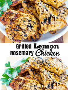 Flavorful Grilled Lemon Rosemary Chicken - Flavorful, healthy, gluten free, low carb Grilled Lemon Rosemary Chicken recipe has an easy to prep - Grilled Lemon Chicken, Lemon Rosemary Chicken, Grilled Chicken Recipes, Bbq Chicken, Healthy Seasoned Chicken, Cracker Chicken, Chicken Ideas, Healthy Grilling Recipes, Barbecue Recipes