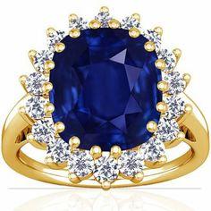 Amazon.com: 18K Yellow Gold Cushion Cut Blue Sapphire Ring With Sidestones: Jewelry Price:$118,080.00
