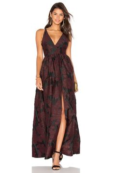 Cynthia Rowley Jacquard Lace Gown in Black & Burgundy