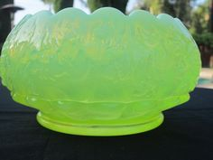 Vaseline Opalescent Glass Good Luck Rose Bowl Northwood | eBay