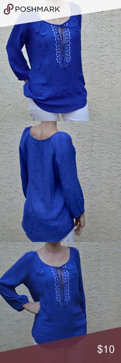 🔥 HOT SALE! Embroidered Tunic Excellent condition only wore 1/2 a day was too big on me received as a gift. Size Med. Briana and Em. LB for exposure Lucky Brand Tops Tees - Long Sleeve