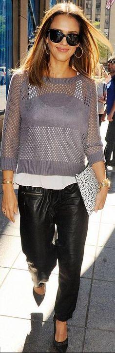 Jessica Alba: Sweater – Heartloom  Purse – Saint Laurent  Pants – Pam & Gela  Shoes – Diane von Furstenberg  Bracelet – Cartier