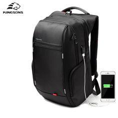 "Kingsons 15""17"" Laptop Backpack External USB Charge Computer Backpacks Anti-theft Waterproof Bags for Men Women"