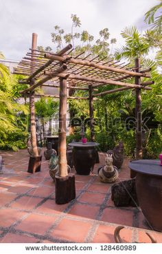 Bamboo shelter for rest area in garden