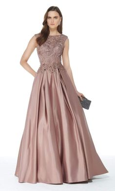 Alyce Paris Style 27010 Satin Ballgown With Boat Neck, Lace Bodice And Pockets. Colors Available: Rose Taupe And Burgundy. Brides Mom Dress, Mother Of The Bride Dresses Long, Ball Gown Dresses, Evening Dresses, Prom Dresses, Full Length Gowns, Groom Dress, Beaded Lace, Beautiful Gowns
